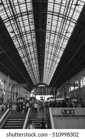 """BUDAPEST, HUNGARY - SEPT. 28, 2016: Interior of  """"Keleti""""  Station in Budapest. Keleti is the Eastern railway station, was opened in 1884 and is among largest in Europe and it a World Heritage."""