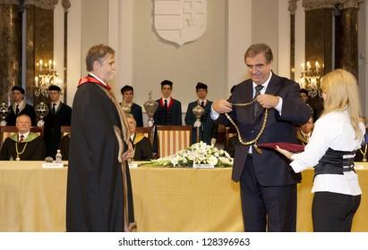 BUDAPEST, HUNGARY - SEPTEMBER 10: Rector Mezey (l) and Istvan Klinghammer on the annual opening ceremony of the ELTE Univ. on Sept. 10, 2010. In 2013 Klinghammer became undersecretary for education.