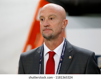 BUDAPEST, HUNGARY - SEPTEMBER 11, 2018: Head coach Marco Rossi listens to the anthem prior to Hungary v Greece UEFA NL match at Groupama Arena.