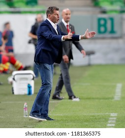 BUDAPEST, HUNGARY - SEPTEMBER 11, 2018: Head coach Michael Skibbe reacts during Hungary v Greece UEFA NL match at Groupama Arena.