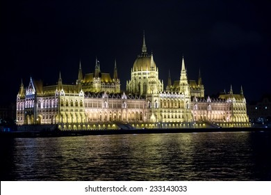 Budapest, Hungary -September 12, 2014.View from the river at the Parliament in Budapest at night with cold illumination