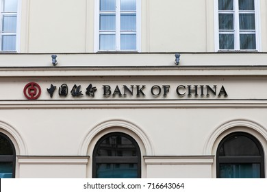 Budapest, Hungary, September 13, 2017: Bank of China logo on a building. Bank of China is one of the 5 biggest state-owned commercial banks in China.