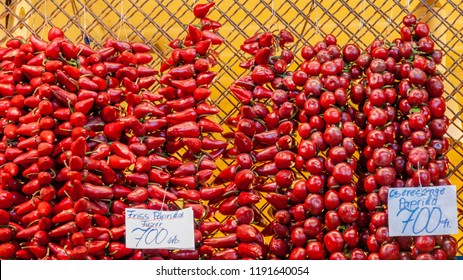 Budapest, Hungary - September 18 2010: Red bell pepper (also known as paprika) on sale at the market in Budapest, Hungary