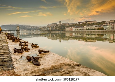 BUDAPEST, HUNGARY - SEPTEMBER, 2016: Shoes memorial on the bank of river in Budapest, Hungary