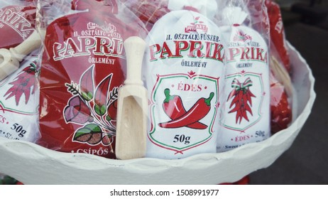 Budapest, Hungary. September 2019: Hungarian Paprika as a souvenir for sale at a touristic market