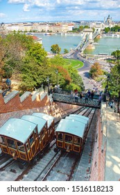 Budapest, Hungary - September 2019: old funicular railway in the city Budapest Castle Hill Funicular that links square before the Szechenyi Chain Bridge to Buda Castle above.