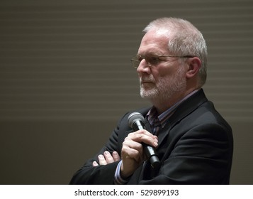 BUDAPEST, HUNGARY - SEPTEMBER 22, 2015: Peter Eotvos, famous hungarian  composer, conductor and teacher on a press presentation of Japan Foundation in BMC center.