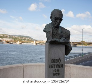 BUDAPEST, HUNGARY - SEPTEMBER 22, 2017: Memorial to  István Bibó  who was a Hungarian lawyer, civil servant, politician and political theorist.