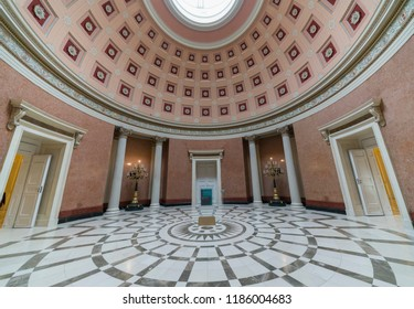 Budapest, Hungary - September 22, 2018: Interior of Hungarian National Museum was founded in 1802 and is the national museum for the history, art and archaeology of Hungary.