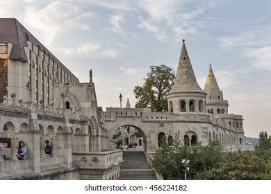 BUDAPEST, HUNGARY - SEPTEMBER 23, 2015: Unrecognized people visit Fisherman's Bastion on Buda Hill. Bastion was designed and built between 1895 and 1902.