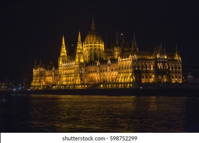 BUDAPEST, HUNGARY - SEPTEMBER 24, 2015: The building of the Hungarian Parliament, the illumination of the building, night. Hungary. Places for tourists.