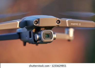 BUDAPEST, HUNGARY - SEPTEMBER 25, 2018: DJI Mavic 2 Pro drone midflight featuring a camera designed by Hasselblad, a major upgrade over the previous Mavic model