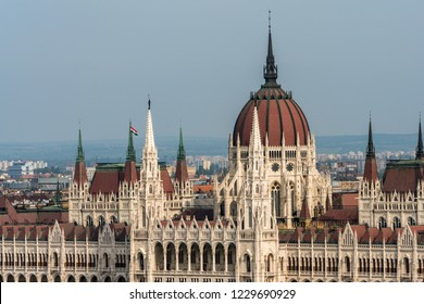 BUDAPEST, HUNGARY - SEPTEMBER 27, 2017: Closeup side view of the beautiful and famous Hungarian Parliament building by the Danube river in Budapest September 27, 2017.