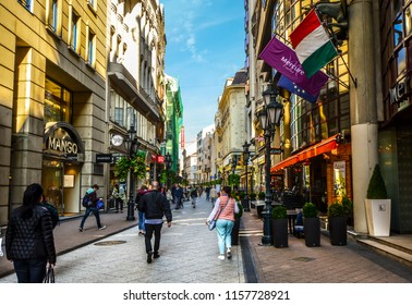 Budapest, Hungary - September 28 2017: Tourists and local Hungarians shop the Vaci Street stores and cafes in downtown Budapest.