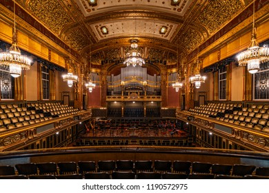 BUDAPEST, HUNGARY - SEPTEMBER 28, 2018: Main hall of the Liszt Zenekademia (Academy of Music). It is a concert hall and music conservatory in Budapest, Hungary, founded on November 14, 1875.