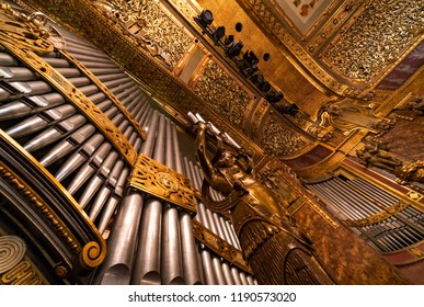 BUDAPEST, HUNGARY - SEPTEMBER 28, 2018: The organ of The Liszt Zenekademia (Academy of Music). It is a concert hall and music conservatory in Budapest, Hungary, founded on November 14, 1875.