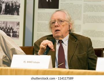 BUDAPEST HUNGARY - SEPTEMBER 28: Istvan Bibo Jr. art historian, son of minister Bibo, victim of the 1956 revolution on the conference about Bibo org by ELTE Univ  on September 28, 2012 in Budapest, Hungary.