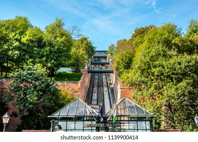 Budapest, Hungary - September 29 2017: The Budapest Castle Hill Funicular or Budavári Sikló is a funicular railway in the city of Budapest, in Hungary