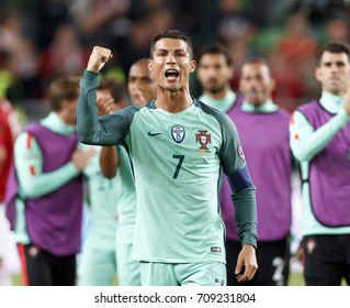 BUDAPEST, HUNGARY - SEPTEMBER 3, 2017: Cristiano Ronaldo #7 of Portugal celebrates and thanks for the support of Portuguese fans after Hungary v Portugal FIFA 2018 WC Qualifier match at Groupama Arena