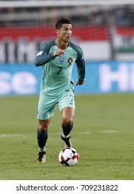 BUDAPEST, HUNGARY - SEPTEMBER 3, 2017: Cristiano Ronaldo of Portugal controls the ball during Hungary v Portugal FIFA 2018 WC Qualifier match at Groupama Arena.
