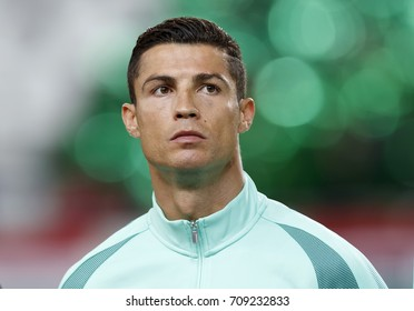 BUDAPEST, HUNGARY - SEPTEMBER 3, 2017: Cristiano Ronaldo of Portugal listens to the anthems prior to Hungary v Portugal FIFA 2018 WC Qualifier match at Groupama Arena.