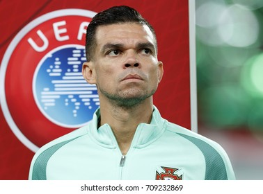 BUDAPEST, HUNGARY - SEPTEMBER 3, 2017: Pepe of Portugal listens to the anthems prior to Hungary v Portugal FIFA 2018 WC Qualifier match at Groupama Arena.