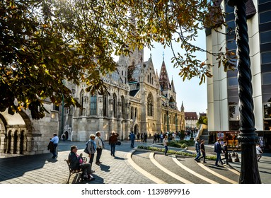 Budapest, Hungary - September 30 2017: Tourists visit the Matthias Church, part of the Buda Castle District on a sunny day on the Buda side of Budapest Hungary