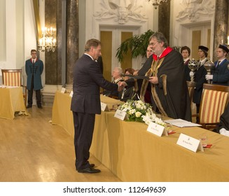 BUDAPEST, HUNGARY - SEPTEMBER 4: Sauli Vainamo Niinisto, president of Finland gets honored as Doctor honoris causa by the senat of ELTE University on September 4, 2012 in Budapest, Hungary.