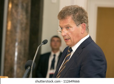 BUDAPEST, HUNGARY - SEPTEMBER 4: Sauli Vainamo Niinisto, president of Finland speaks after honored as Doctor honoris causa by the senat of ELTE University on September 4, 2012 in Budapest, Hungary.