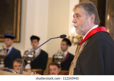 BUDAPEST, HUNGARY - SEPTEMBER 7: Barna Mezey rector speaks on the opening ceremony of ELTE University on September 7, 2012 in Budapest, Hungary.