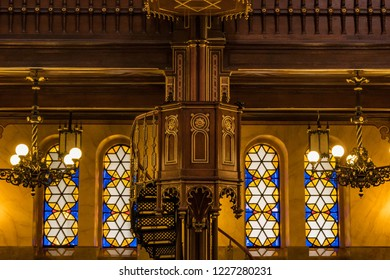 Budapest, Hungary - Stained glass windows and interior in the Dohány Street Synagogue, largest synagogue in Europe and the second largest in the world.