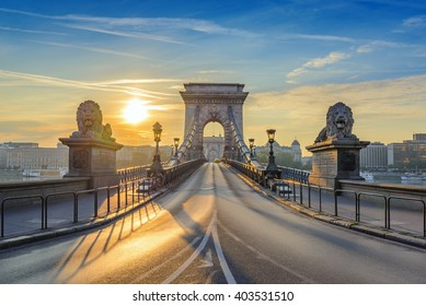 Budapest Hungary, sunrise at Chain Bridge