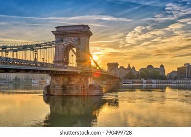 Budapest Hungary, sunrise city skyline at Chain Bridge and Danube River