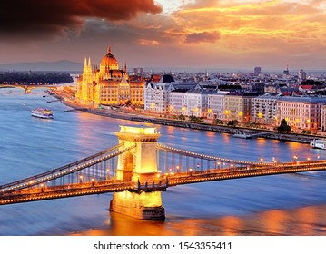 Budapest, Hungary at a sunset