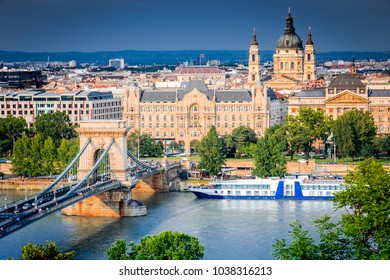 Budapest, Hungary. Szechenyi or Lanchid Chain Bridge, first stone-bridge over Danube River