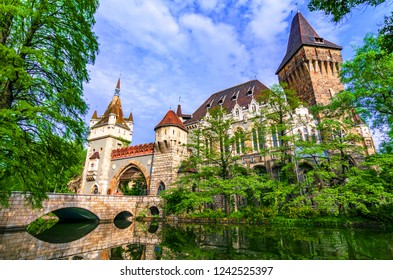 Budapest, Hungary: Vajdahunyad, City Park of Budapest, designed in different styles: Romanesque, Gothic Renaissance and Baroque