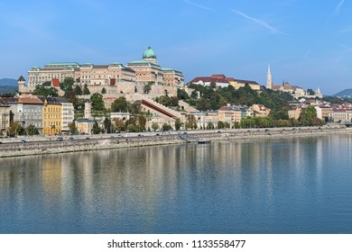 Budapest, Hungary. View from Elisabeth Bridge on Castle Hill with Royal Palace, Castle Garden, Sandor Palace, Matthias Church and Fisherman's Bastion.