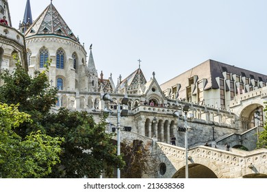 BUDAPEST, HUNGARY-27 AUGUST, 2011: View of Fisherman's Bastion. Fisherman' s Bastion is a terrace in neo-Gothic and neo-Romanesque style. It was designed and built between 1895 and 1902