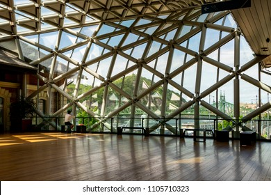 Budapest Hungary-Apr. 26, 2018: Interior of the building Balna.  The building is a project that uses the architecture to create a mixed-use living space