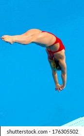 BUDAPEST, HUNGARY-AUGUST 01, 2006: Professional diving woman dives into water during a competition of the European Swimming Championship in Budapest.