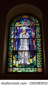 BUDAPEST, HUNGARY-AUGUST 18, 2012: Stained Glass Of St. Stephen's Basilica. Budapest, Hungary