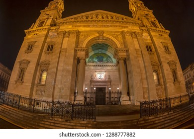 BUDAPEST, HUNGARY-DECEMBER 18, 2018: Night view of St. Stephen's Roman Catholic Basilica, named in honour of Stephen, the first King of Hungary (975–1038), whose right hand is housed in the reliquary.