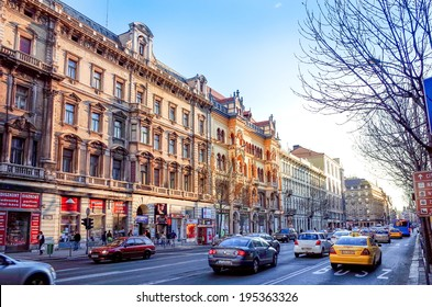 Budapest, Hungary.-March 20: Traditional old buildings on March 20, 2014. Beautiful street view of historic architectural in Budapest, Hungary, Europe