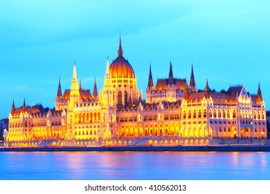 Budapest. Hungary.Parliament.Sunset over the Danube.