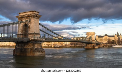 Budapest icon Chain Bridge on a cloudy and sunny day
