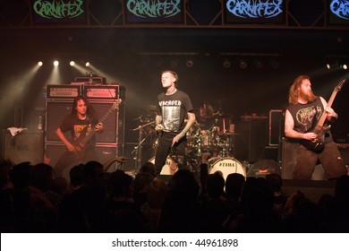 BUDAPEST - JANUARY 18: American Death Metal Band called Carnifex performs on stage at Diesel Club on January 18, 2010 in Budapest, Hungary.