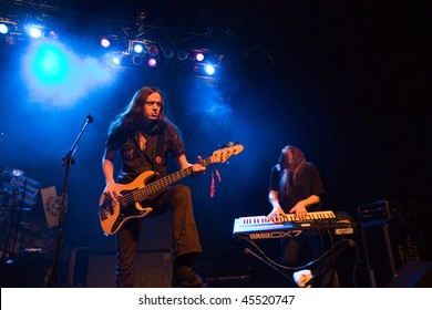 BUDAPEST - JANUARY 26: Power Metal  Band from Finland called Stratovarius  performs on stage at PeCsa on January 26,  2010 in Budapest, Hungary.