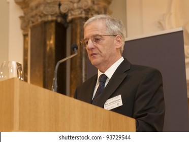 """BUDAPEST - JANUARY 26: Prof. Laszlo Solyom former president of Hungary on the Conference """"The European Constitutional Area"""" org. by Max Planck Inst. & ELTE Univ. on Jan.26, 2012 in Budapest, Hungary."""