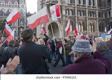 BUDAPEST - MARCH 15: Polish sympathy strike by the Hungarian government on the day of Hungarian national revolution on March 15, 2012 in Budapest.