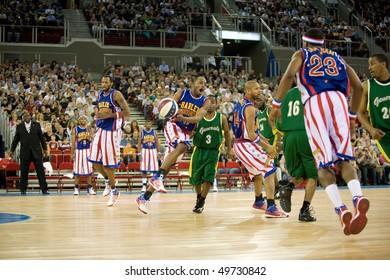BUDAPEST - MARCH 23: The world famous Harlem Globetrotters basketball team in an exhibition match against Washington Generals at Sportarena on March 23 2010 in Budapest, Hungary.